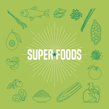natural food: Set of superfoods products, berries, fruits, vegetables in vector. Icons, design elements, print, poster of cocoa beans, goji berry, acai seeds, quinoa for super food wellness