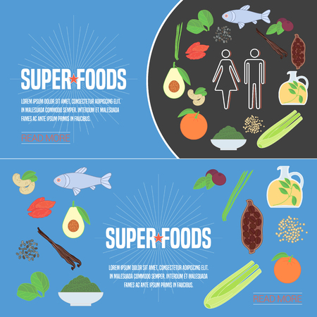 Set of superfoods products, berries, fruits in vector. Icons, design elements, internet banners with cocoo beans, goji berry, spirulina, spinach for super food vegetarian eating concept