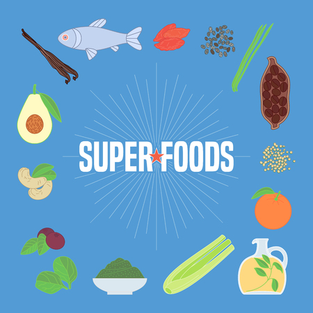 Set of superfoods products, berries, fruits, vegetables in vector. Icons, circle design elements, banner, poster with goji berry, acai seeds, quinoa, celery for super food wellness Illustration