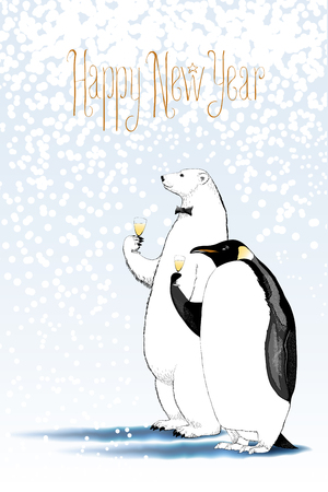 text year: Happy new year 2017 vector drawing, greeting card. Polar bear and penguin drinking glass of champagne funny nonstandard illustration. Design element with Happy New Year text