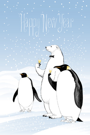 Happy New Year 2017 Vector Greeting Card. Polar Bear And Penguins ...