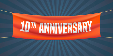 10 years anniversary vector illustration, banner, flyer, icon, symbol. Graphic design element with red flag for 10th anniversary, birthday greeting, event celebration