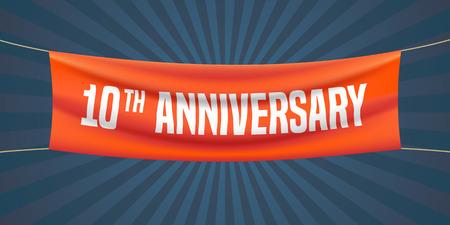 Illustration vectorielle de 10 ans anniversaire, bannière, flyer, icône, symbole. Élément de design graphique avec drapeau rouge pour le 10e anniversaire, salutation d'anniversaire, célébration de l'événement Banque d'images - 65614757