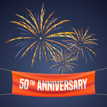 50 years anniversary vector illustration, banner, flyer, icon, symbol, invitation. Graphic design element with fireworks for 50th anniversary, birthday greeting, event celebration Illustration
