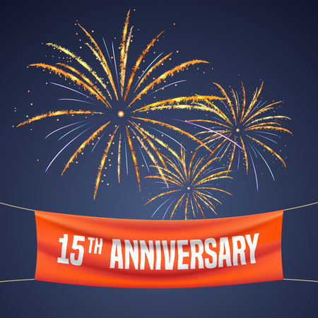 15 years anniversary vector illustration, banner, flyer, logo, icon, symbol, invitation. Graphic design element with fireworks for 15th anniversary, birthday greeting, event celebration