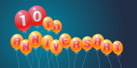 10th: 10 years anniversary vector illustration, banner, flyer, icon, symbol, invitation. Graphic design element with air balloons for 10th anniversary, birthday card, celebration decoration