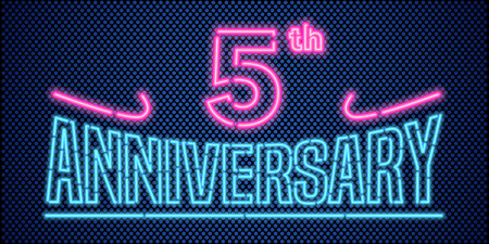 5 years anniversary vector illustration, banner, flyer, logo, icon, symbol, advertisement. Graphic design element with vintage style neon font for 5th anniversary, birthday card
