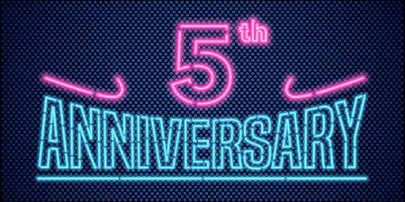 5 ans d'illustration anniversaire de vecteur, bannière, flyer, logo, icône, symbole, publicité. élément de design graphique avec la police au néon de style vintage pour le 5e anniversaire, carte d'anniversaire Banque d'images - 65734687