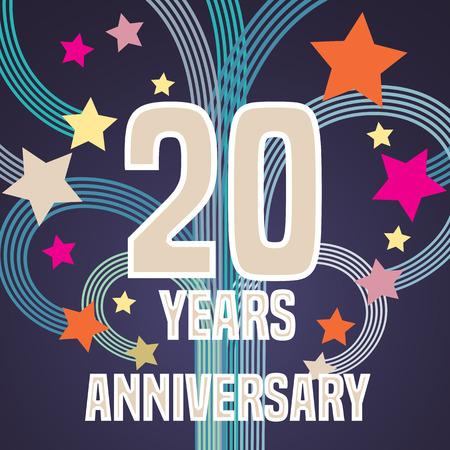 20th: 20 years anniversary illustration banner