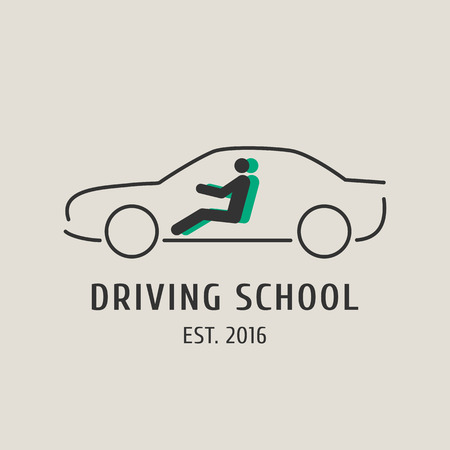 school: Driving school vector logo, sign, symbol, emblem. Car silhouette design element, concept illustration for driving lessons obtain company