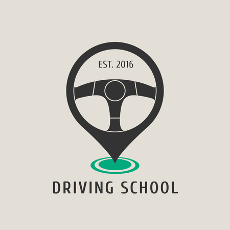 school: Automobile driving school vector logo, sign, emblem. Steering wheel design element. Driving lessons concept illustration, insignia, sticker, banner Illustration