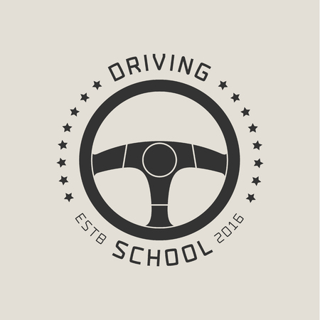 school: Driving license school vector logo, sign, emblem. Steering wheel graphic design element. Driving lessons concept illustration Illustration