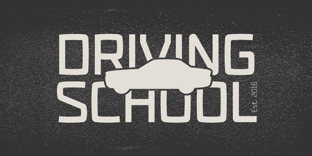 school: Automobile driving school vector logo, sign, emblem. Car, auto silhouette design element. Driving lessons concept illustration, insignia, advertising