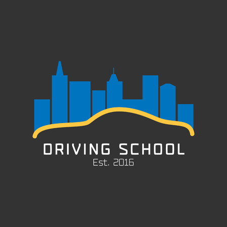 school: Driving school vector logo, sign, symbol, emblem. Car driving along night city graphic design element. Driving lessons concept illustration