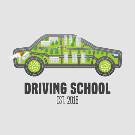 Driving license school vector logo, sign, emblem. Car with road map symbols graphic design element. Driving lessons concept illustration