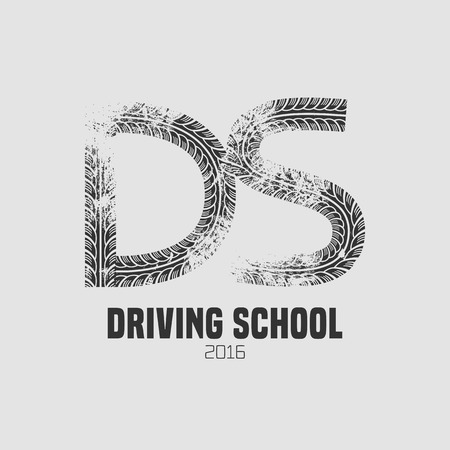 school: Automobile driving school vector logo, sign, emblem. Wheel print graphic design element. Driving lessons concept illustration
