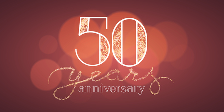 50 years anniversary: 50 years anniversary vector illustration, banner, flyer, icon, symbol, sign, logo. Graphic design element with bokeh effect for 50th birthday card