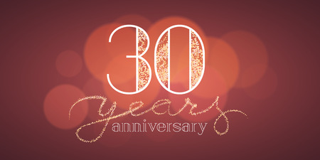 30th: 30 years anniversary vector banner, icon, logo. Graphic design element with bokeh effect for 30th birthday card or illustration Illustration