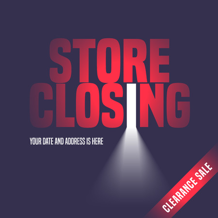 Store closing sale vector illustration, background with open door, light and lettering sign. Template banner, flyer, design element, decoration for store closing clearance sale