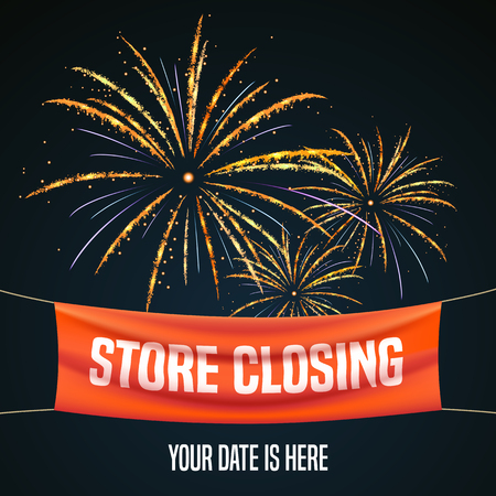 Store closing vector illustration, background with firework. Template banner and design element for store closing clearance sale Illustration