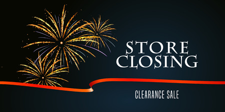 Store closing vector illustration, background with firework. Template banner, design element for clearance sale Illustration