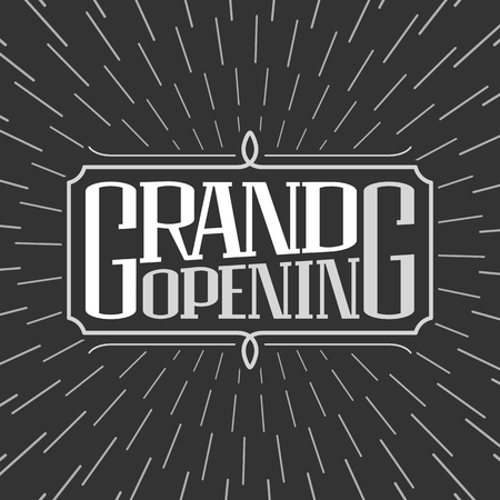 Grand opening vector illustration, background. Template banner, design element for new store, shop, club opening ceremony