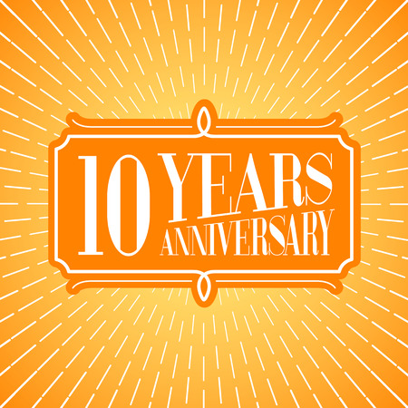 10th: 10 years anniversary vector illustration, icon, logo. Graphic design element for 10th anniversary birthday greeting card