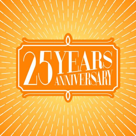 25 years anniversary vector illustration, icon, logo. Graphic design element for 25th anniversary birthday greeting card Ilustração
