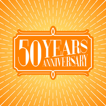 50 years anniversary: 50 years anniversary vector icon, logo. Graphic design element for 50th anniversary birthday greeting card