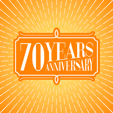 70 Years Anniversary Vector Icon Logo Graphic Design Element For 70th Birthday Greeting