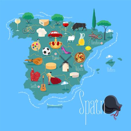 corrida de toros: Mapa de España ilustración vectorial, elemento de diseño. Los iconos con el flamenco español, jamón, torero, corona. imagen del concepto España Explora