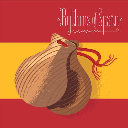spanish flag: Spanish castanets vector illustration, design element on background of Spanish flag. Visit Spain concept image Illustration