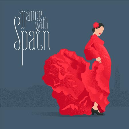 Flamenco dancer in red dress in visit Spain concept vector illustration. Design clip-art element with flamenco pose