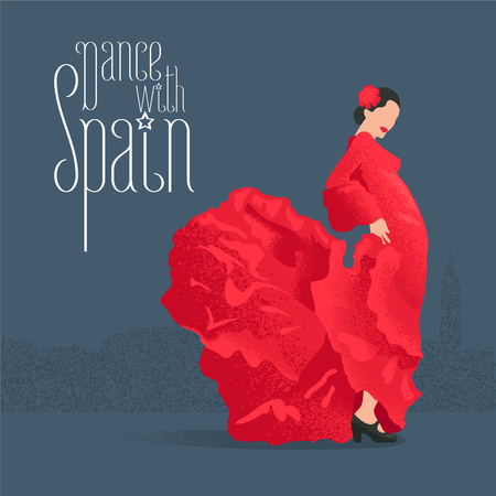 Flamenco dancer in red dress in visit Spain concept vector illustration. Design clip-art element with flamenco pose