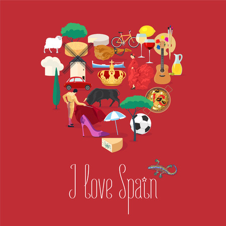 Set of Spanish landmarks, culture, music, food icons in vector. Heart shape design element for visit Spain concept