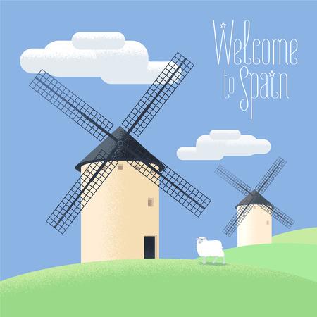 Mills en España ilustración vectorial. Paisaje de la España rural. Molinos de viento clip para el tema de la agricultura