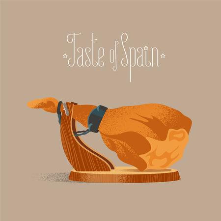 Espagnol vecteur jamon illustration. jambe de porc salé à sec l'image de concept pour les gourmets. élément de design avec de la nourriture traditionnelle en Espagne