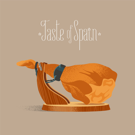 Spanish jamon vector illustration. Dry-cured pig leg for gourmets concept image. Design element with traditional food in Spain Illustration