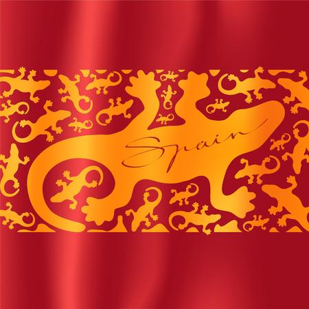 Antonio Gaudi lizard, gecko vector illustration. Spanish flag with pattern for visit Spain concept design element Illustration