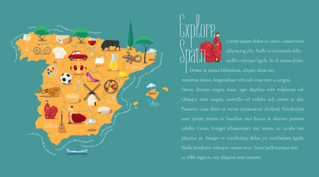 Map of Spain template vector illustration. Icons with Spanish guitar, flamenco dancer. Explore Spain concept image