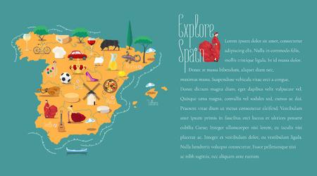 Kaart van Spanje template vector illustratie. Pictogrammen met Spaanse gitaar, flamenco danseres. Ontdek het concept van Spanje Vector Illustratie