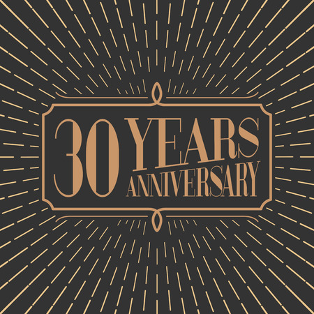 30th: 30 years anniversary vector icon, logo. Gold color graphic design element for 30th anniversary birthday card