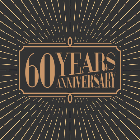 age 60: 60 years anniversary vector icon, logo. Gold color graphic design element for 60th anniversary birthday card