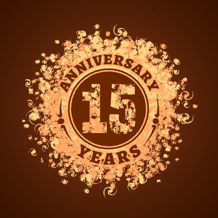 15 years anniversary vector illustration, banner, icon, sign, logo. Graphic design element, golden decoration for 15th anniversary card Illustration