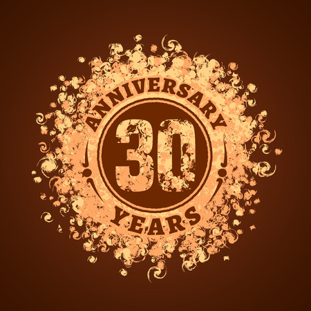 30th: 30 years anniversary vector icon, logo. Graphic design element, golden decoration for 30th anniversary card