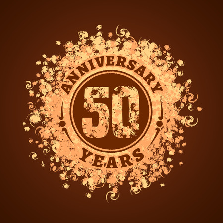 50 years anniversary vector icon, logo. Graphic design element, golden decoration for 50th anniversary card