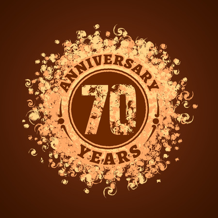 70 years anniversary vector icon, logo. Graphic design element, golden decoration for 70th anniversary card