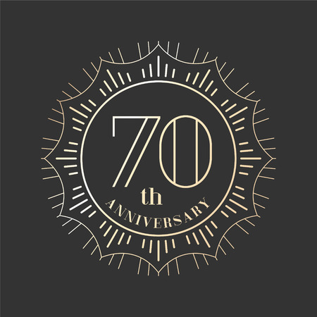 seventieth: Graphic design element for 70th anniversary birthday card