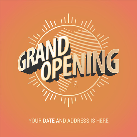 Nonstandard design element with gold color lettering and graphic sun for opening ceremony, can be used as background
