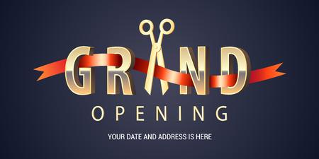 グランド オープンのベクトルの背景。ポスターやオープニング イベントのバナーのはさみ切断赤いリボン デザイン要素